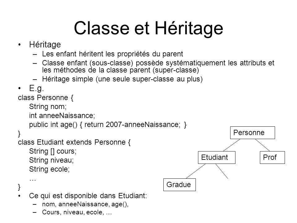 Classe et Héritage Héritage –Les enfant héritent les propriétés du parent –Classe enfant (sous-classe) possède systématiquement les attributs et les m