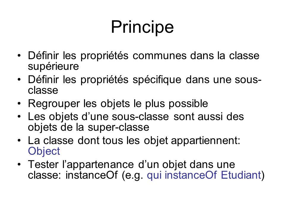 Principe Définir les propriétés communes dans la classe supérieure Définir les propriétés spécifique dans une sous- classe Regrouper les objets le plu