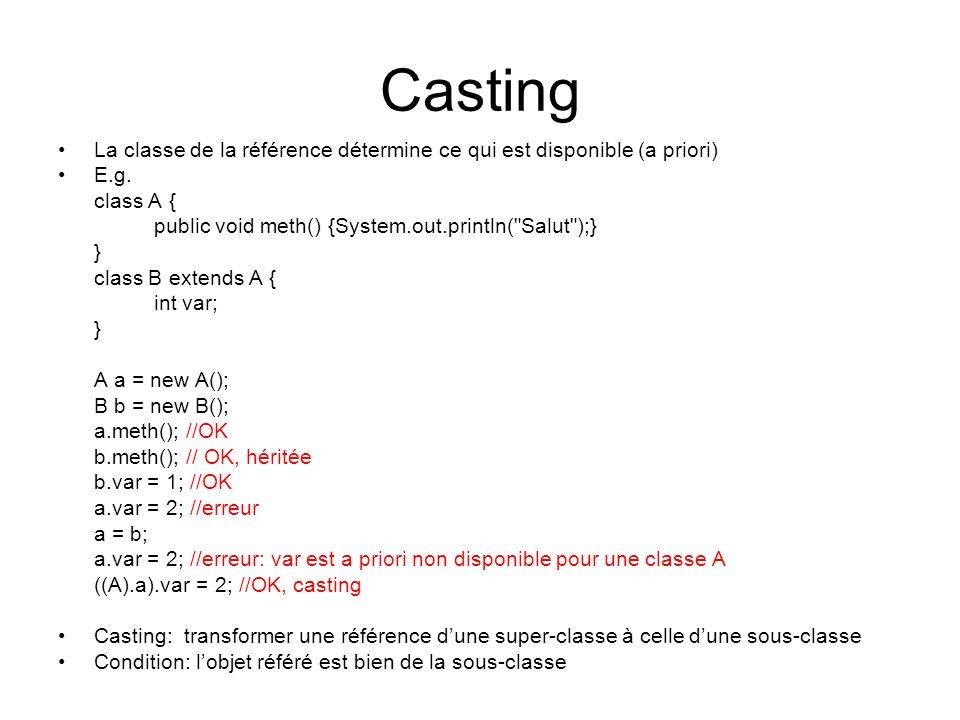 Casting La classe de la référence détermine ce qui est disponible (a priori) E.g. class A { public void meth() {System.out.println(