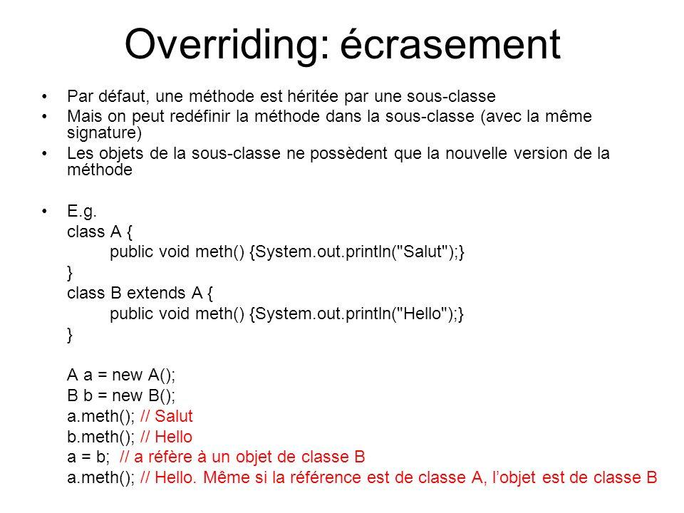 Overriding: écrasement Par défaut, une méthode est héritée par une sous-classe Mais on peut redéfinir la méthode dans la sous-classe (avec la même sig