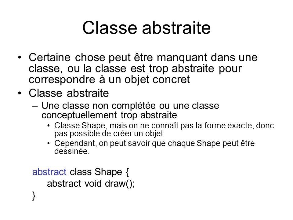 Classe abstraite Certaine chose peut être manquant dans une classe, ou la classe est trop abstraite pour correspondre à un objet concret Classe abstra