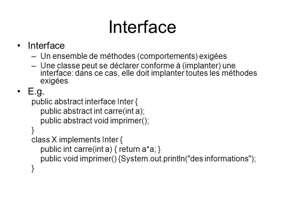 Interface –Un ensemble de méthodes (comportements) exigées –Une classe peut se déclarer conforme à (implanter) une interface: dans ce cas, elle doit i