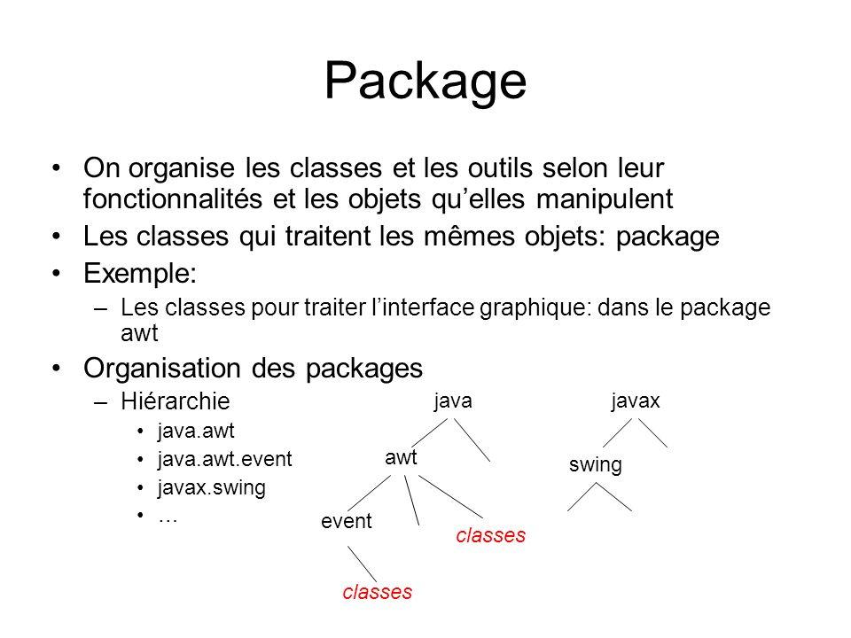 Package On organise les classes et les outils selon leur fonctionnalités et les objets quelles manipulent Les classes qui traitent les mêmes objets: p
