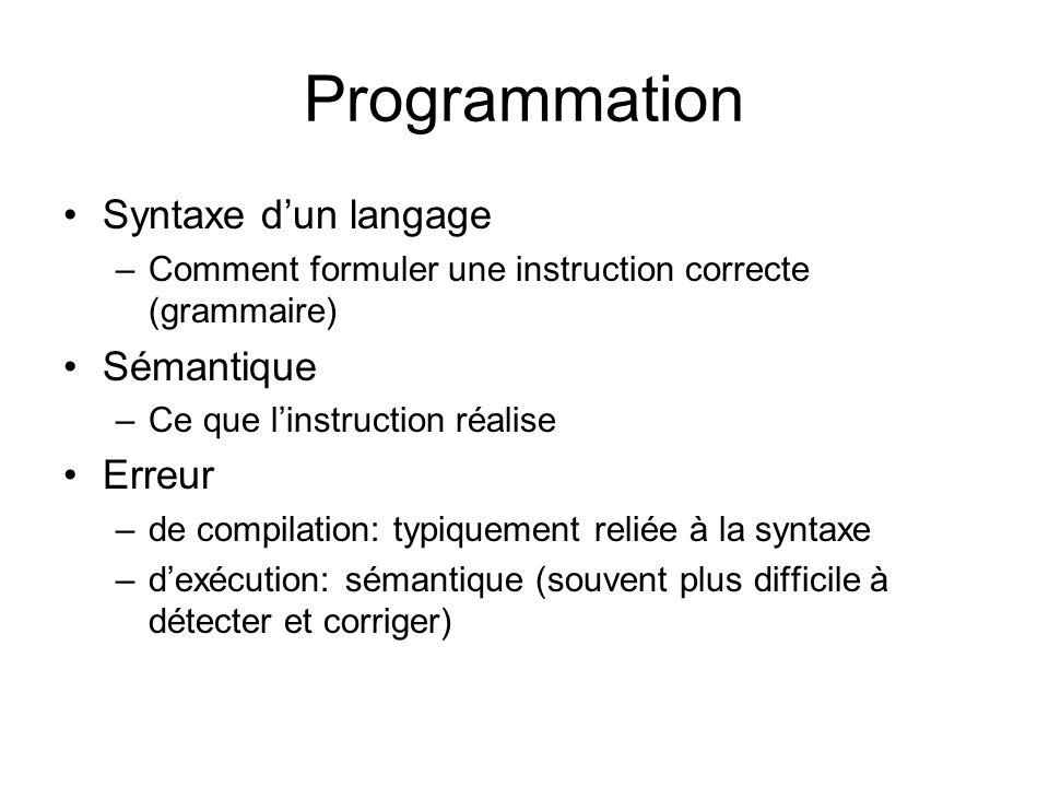 Programmation Syntaxe dun langage –Comment formuler une instruction correcte (grammaire) Sémantique –Ce que linstruction réalise Erreur –de compilatio