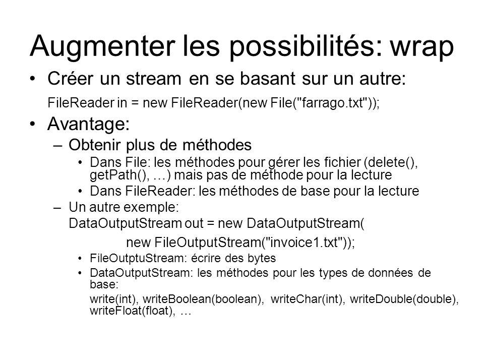 Augmenter les possibilités: wrap Créer un stream en se basant sur un autre: FileReader in = new FileReader(new File(