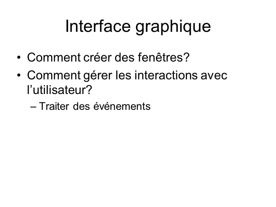 Interface graphique Comment créer des fenêtres? Comment gérer les interactions avec lutilisateur? –Traiter des événements