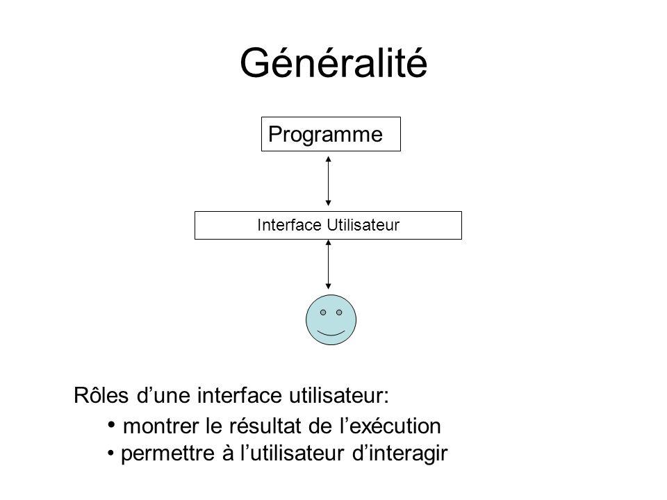 Généralité Programme Interface Utilisateur Rôles dune interface utilisateur: montrer le résultat de lexécution permettre à lutilisateur dinteragir