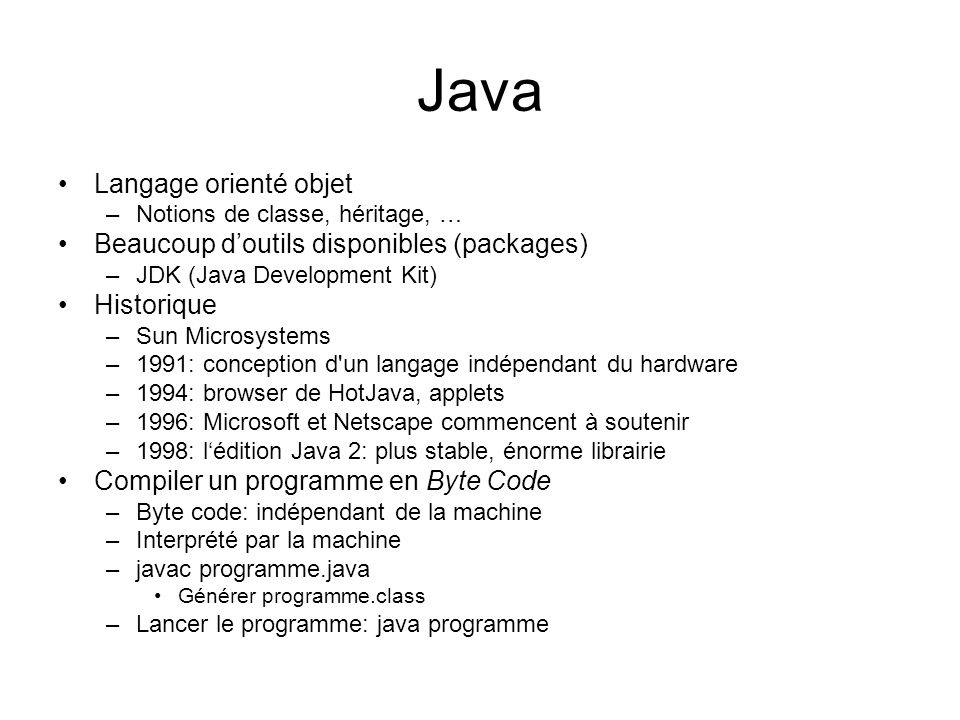 Définir ses propres classes 01: import java.awt.Graphics; 02: import java.awt.Graphics2D; 03: import java.awt.Rectangle; 04: import javax.swing.JPanel; 05: import javax.swing.JComponent; 06: 07: /** 08: A component that draws two rectangles.