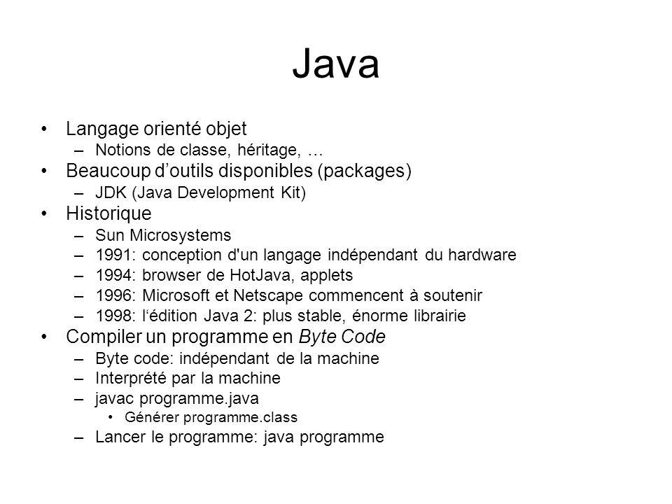 Java Langage orienté objet –Notions de classe, héritage, … Beaucoup doutils disponibles (packages) –JDK (Java Development Kit) Historique –Sun Microsy