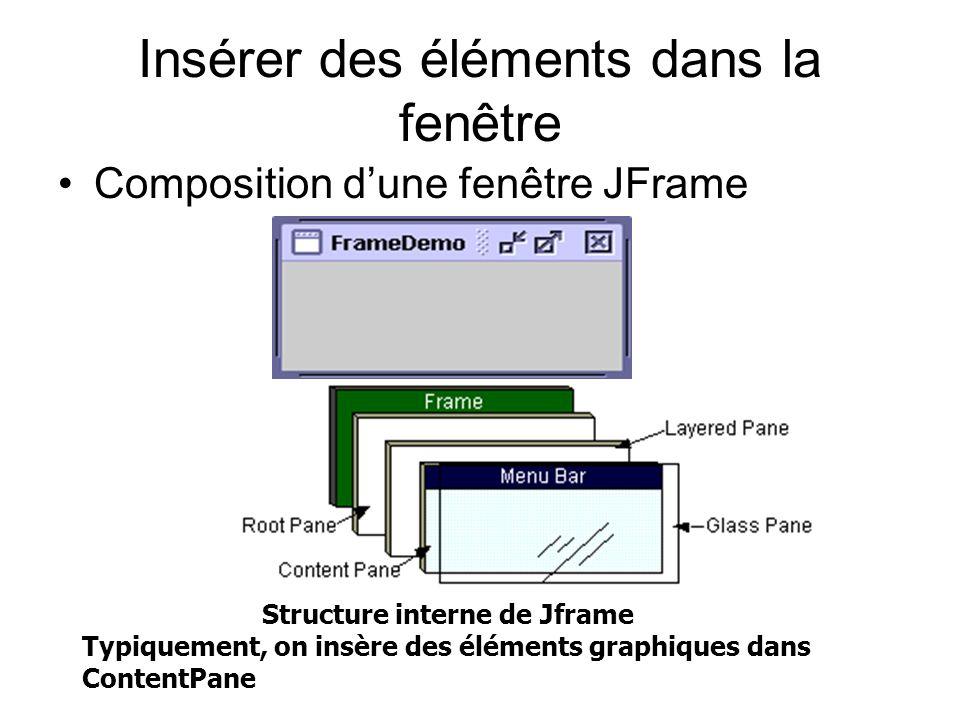 Insérer des éléments dans la fenêtre Composition dune fenêtre JFrame Structure interne de Jframe Typiquement, on insère des éléments graphiques dans C