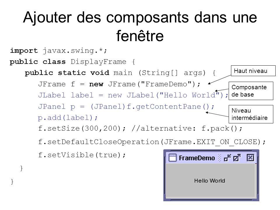 Ajouter des composants dans une fenêtre import javax.swing.*; public class DisplayFrame { public static void main (String[] args) { JFrame f = new JFr