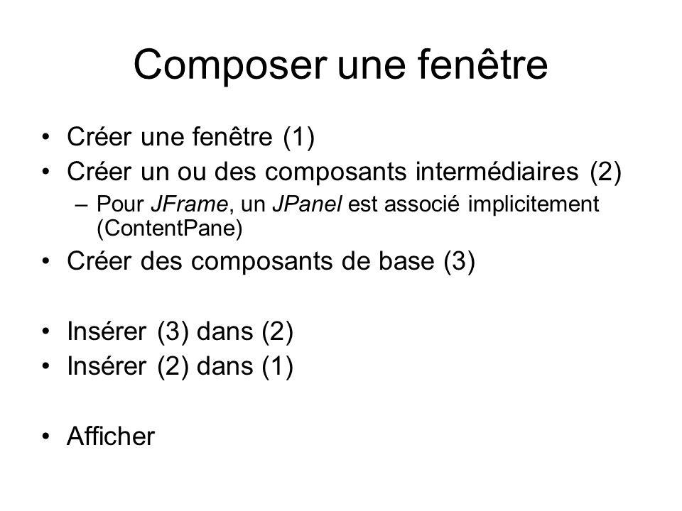Composer une fenêtre Créer une fenêtre (1) Créer un ou des composants intermédiaires (2) –Pour JFrame, un JPanel est associé implicitement (ContentPan