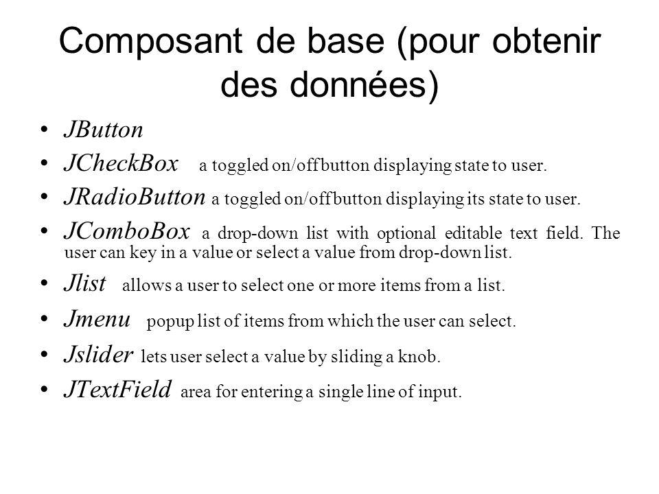 Composant de base (pour obtenir des données) JButton JCheckBox a toggled on/off button displaying state to user. JRadioButton a toggled on/off button