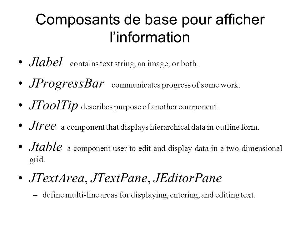 Composants de base pour afficher linformation Jlabel contains text string, an image, or both. JProgressBar communicates progress of some work. JToolTi