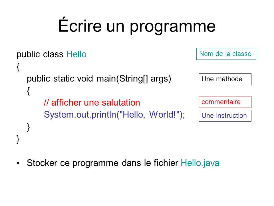 Écrire un programme public class Hello { public static void main(String[] args) { // afficher une salutation System.out.println(