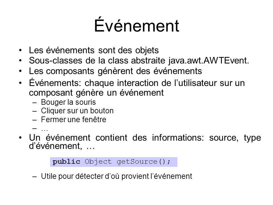 Événement Les événements sont des objets Sous-classes de la class abstraite java.awt.AWTEvent. Les composants génèrent des événements Événements: chaq