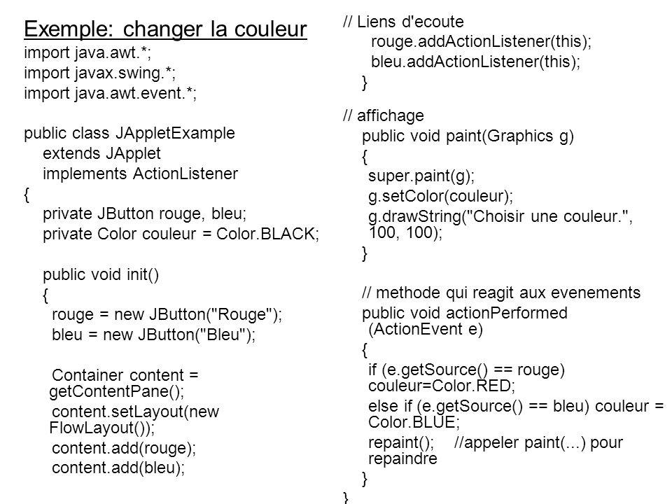 Exemple: changer la couleur import java.awt.*; import javax.swing.*; import java.awt.event.*; public class JAppletExample extends JApplet implements A