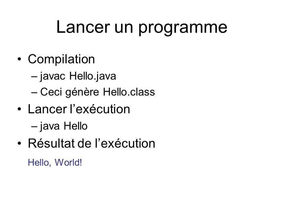 Lancer un programme Compilation –javac Hello.java –Ceci génère Hello.class Lancer lexécution –java Hello Résultat de lexécution Hello, World!