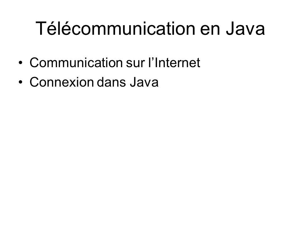 Télécommunication en Java Communication sur lInternet Connexion dans Java
