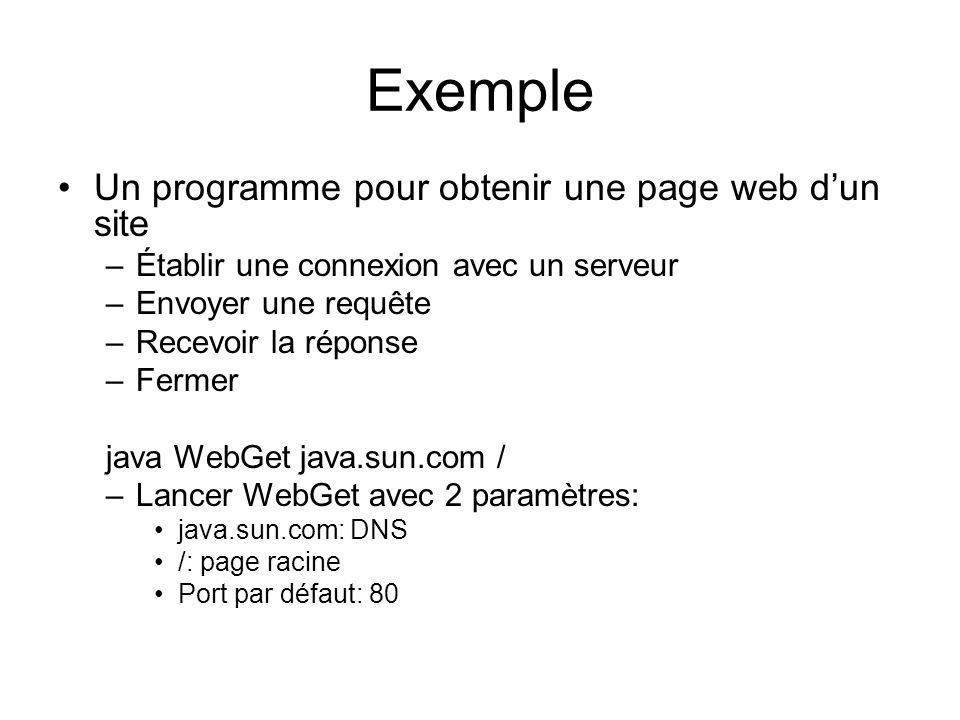 Exemple Un programme pour obtenir une page web dun site –Établir une connexion avec un serveur –Envoyer une requête –Recevoir la réponse –Fermer java