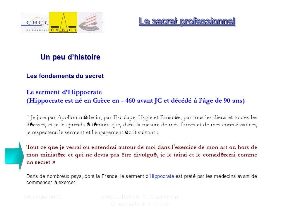28 janvier 2006 CNCEJ BORDEAUX animé par C Bardavid et D Lencou D un côt é, il y a le secret professionnel qui est « d ordre public » qui sous-entend une id é e d int é rêt g é n é ral.
