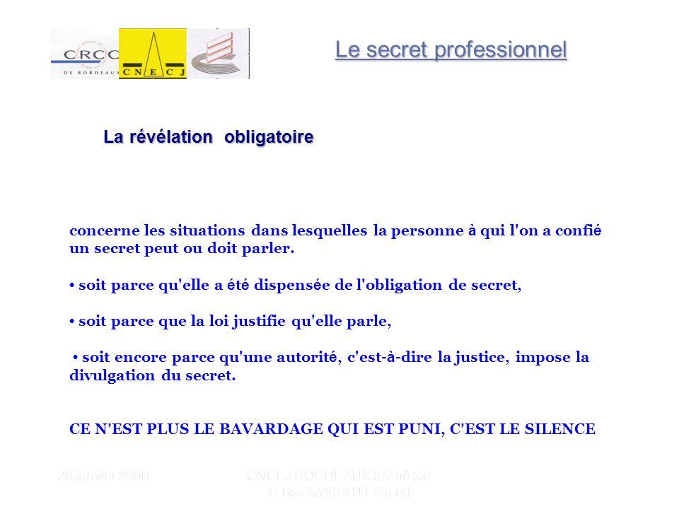 28 janvier 2006 CNCEJ BORDEAUX animé par C Bardavid et D Lencou La révélation obligatoire concerne les situations dans lesquelles la personne à qui l on a confi é un secret peut ou doit parler.