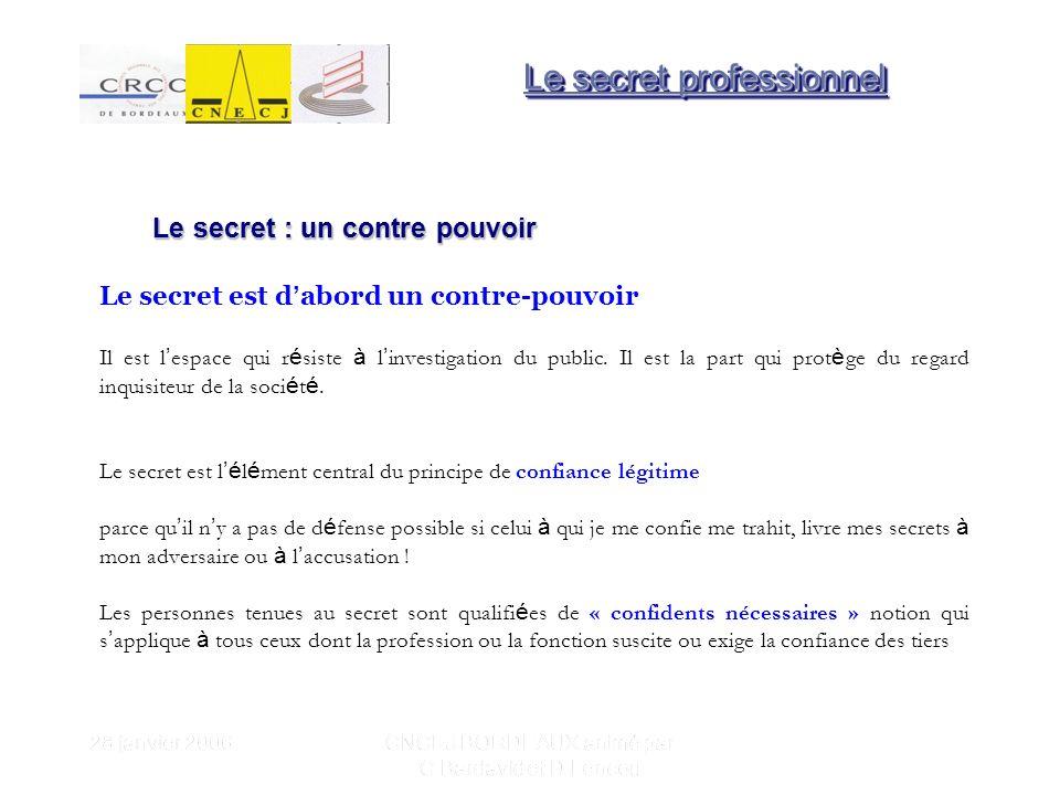 28 janvier 2006 CNCEJ BORDEAUX animé par C Bardavid et D Lencou Un partage é largi du secret professionnel .