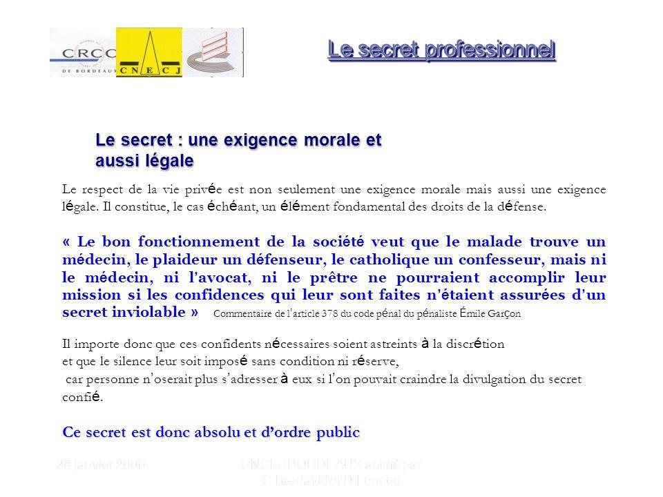 28 janvier 2006 CNCEJ BORDEAUX animé par C Bardavid et D Lencou Le respect de la vie priv é e est non seulement une exigence morale mais aussi une exigence l é gale.
