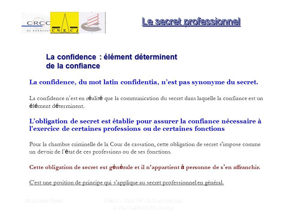 28 janvier 2006 CNCEJ BORDEAUX animé par C Bardavid et D Lencou La confidence : élément déterminent de la confiance La confidence, du mot latin confidentia, nest pas synonyme du secret.
