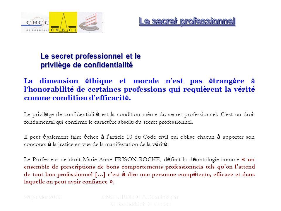 28 janvier 2006 CNCEJ BORDEAUX animé par C Bardavid et D Lencou La d é finition du secret professionnel selon le petit Robert est la suivante : lobligation de ne pas divulguer des faits confidentiels appris dans lexercice de la profession, hors des cas prévus par la loi.