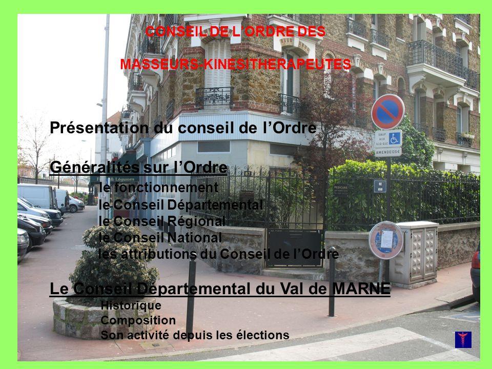 Le Conseil de l Ordre des Masseurs-kinésithérapeutes-Rééducateurs TOUTES LES INFOS DE LORDRE SUR LES SITES www.cnomk.org HTTP://CODK94.BLOGSP OT.COM + Boite mail: codk94@hotmail.fr