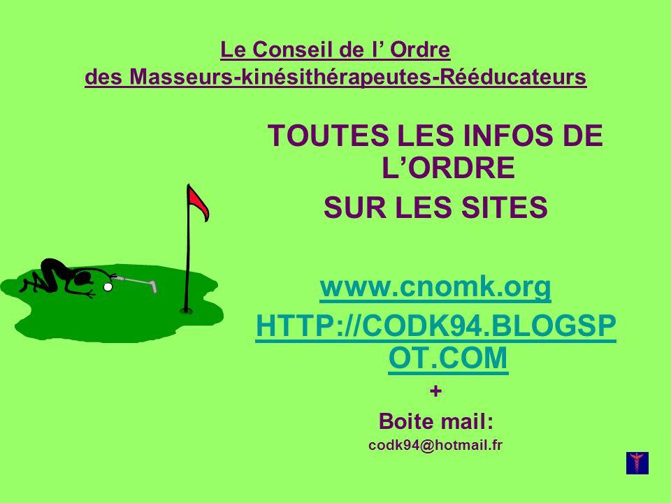 Le Conseil de l Ordre des Masseurs-kinésithérapeutes-Rééducateurs TOUTES LES INFOS DE LORDRE SUR LES SITES www.cnomk.org HTTP://CODK94.BLOGSP OT.COM +