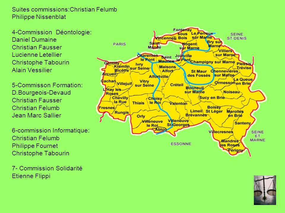 Suites commissions:Christian Felumb Philippe Nissenblat 4-Commission Déontologie: Daniel Dumaine Christian Fausser Lucienne Letellier Christophe Tabou