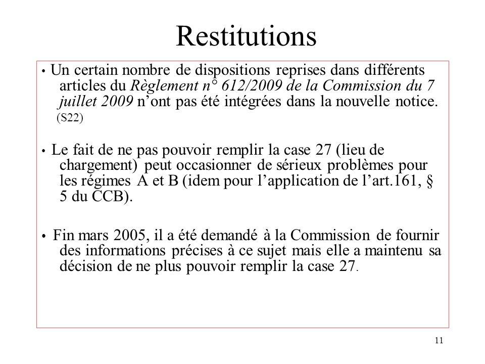 11 Restitutions Un certain nombre de dispositions reprises dans différents articles du Règlement n° 612/2009 de la Commission du 7 juillet 2009 nont p