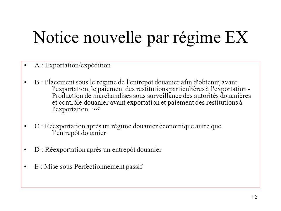 12 Notice nouvelle par régime EX A : Exportation/expédition B : Placement sous le régime de l'entrepôt douanier afin d'obtenir, avant l'exportation, l