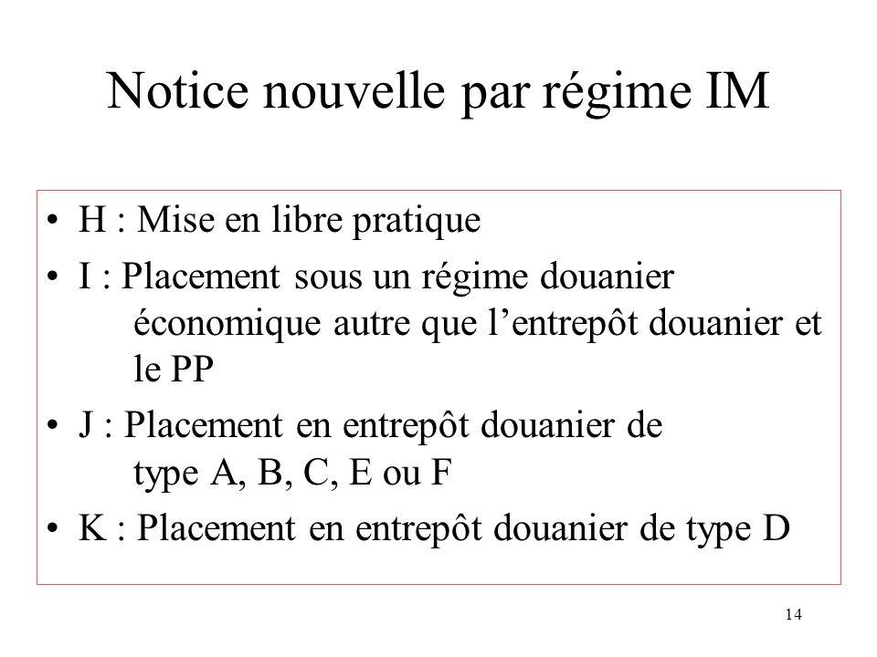 14 Notice nouvelle par régime IM H : Mise en libre pratique I : Placement sous un régime douanier économique autre que lentrepôt douanier et le PP J :