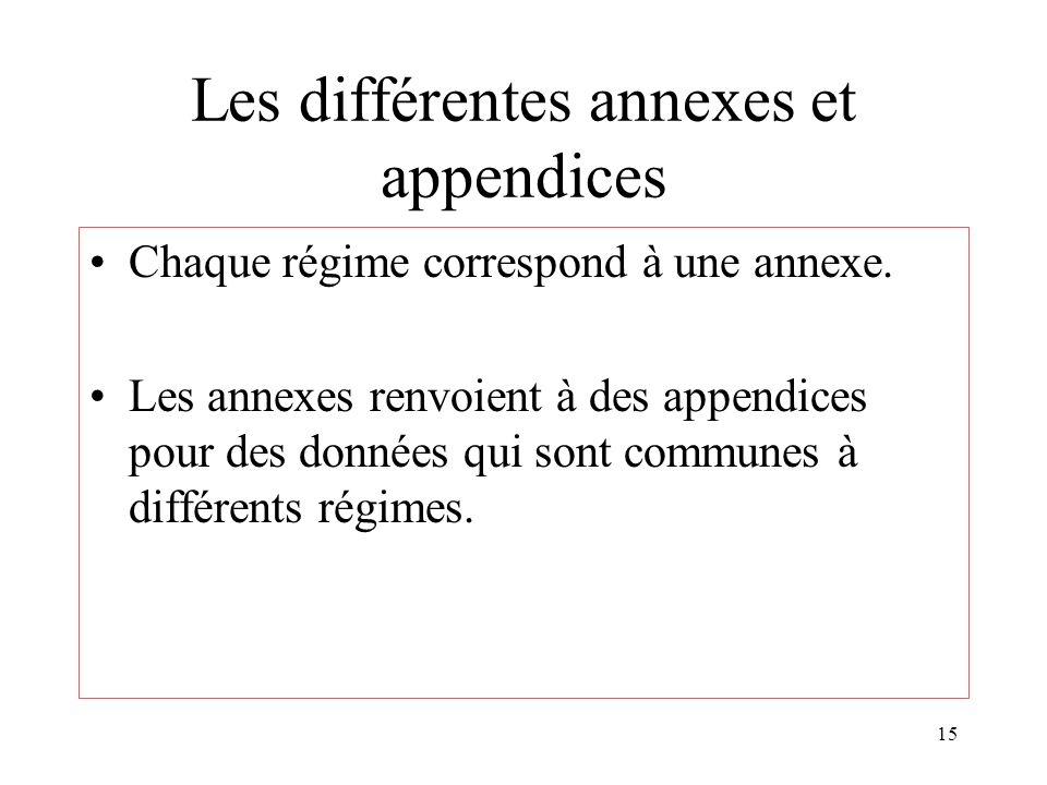 15 Les différentes annexes et appendices Chaque régime correspond à une annexe. Les annexes renvoient à des appendices pour des données qui sont commu