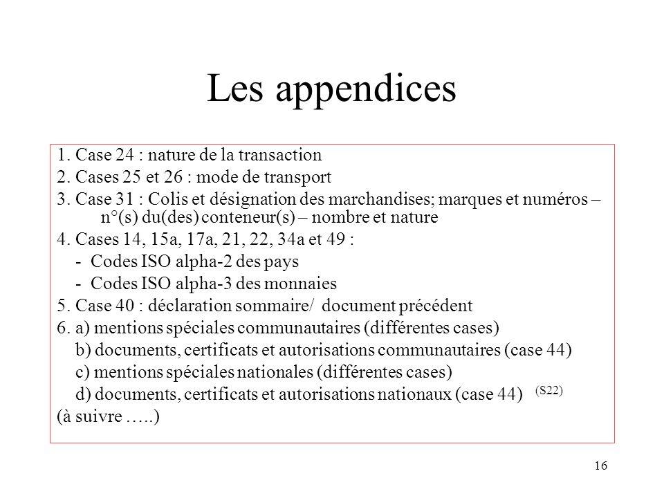 16 Les appendices 1. Case 24 : nature de la transaction 2. Cases 25 et 26 : mode de transport 3. Case 31 : Colis et désignation des marchandises; marq