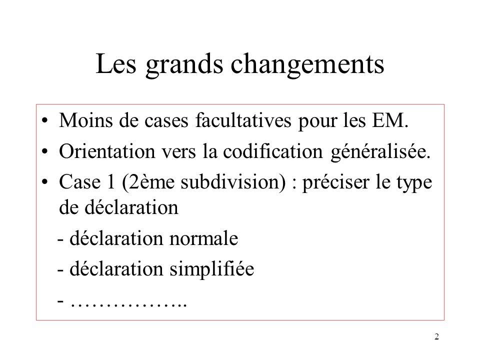 2 Les grands changements Moins de cases facultatives pour les EM. Orientation vers la codification généralisée. Case 1 (2ème subdivision) : préciser l