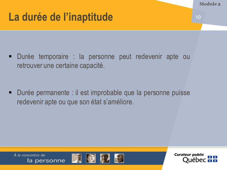 10 La durée de linaptitude Durée temporaire : la personne peut redevenir apte ou retrouver une certaine capacité. Durée permanente : il est improbable