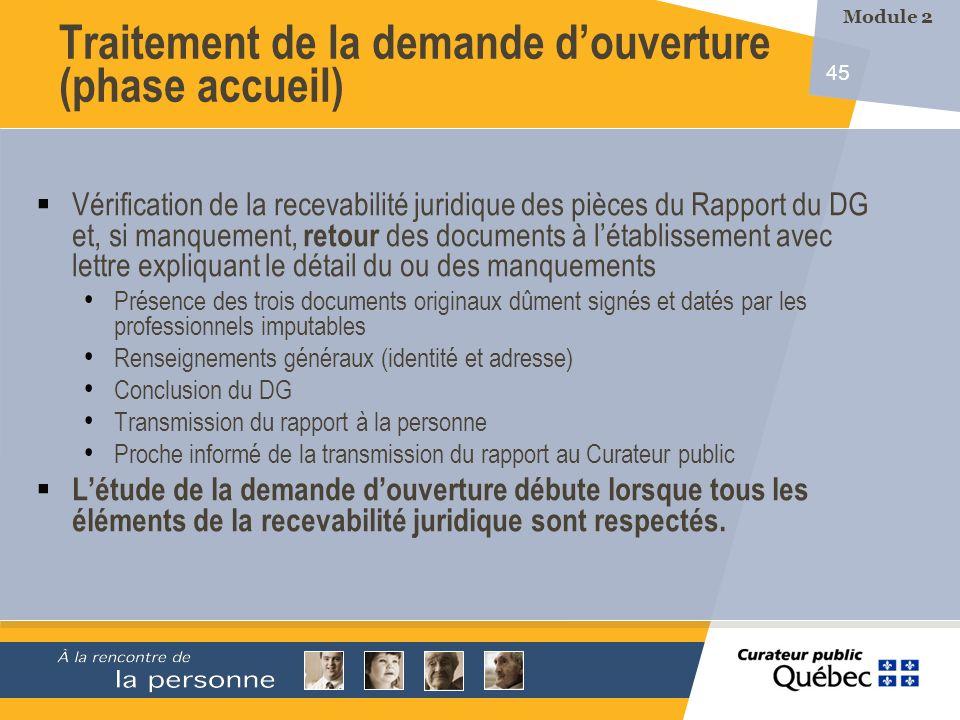 45 Vérification de la recevabilité juridique des pièces du Rapport du DG et, si manquement, retour des documents à létablissement avec lettre expliqua
