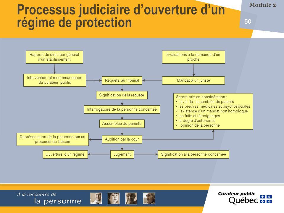 50 Rapport du directeur général dun établissement Intervention et recommandation du Curateur public Requête au tribunal Signification de la requête In