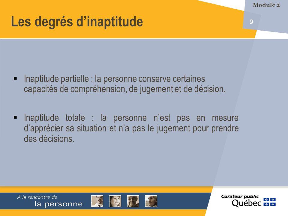 9 Les degrés dinaptitude Inaptitude partielle : la personne conserve certaines capacités de compréhension, de jugement et de décision. Inaptitude tota