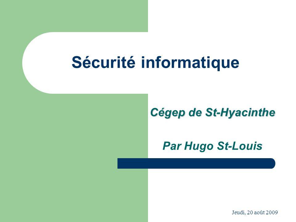 Jeudi, 20 août 2009 Sécurité informatique Cégep de St-Hyacinthe Par Hugo St-Louis