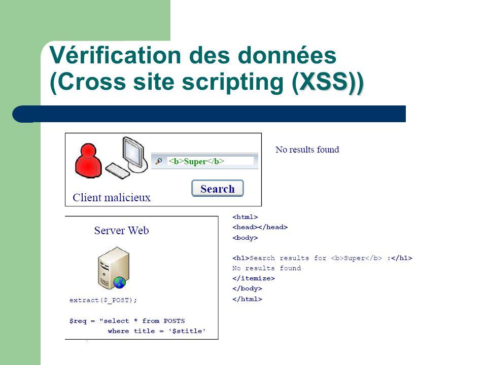 XSS)) Vérification des données (Cross site scripting (XSS))