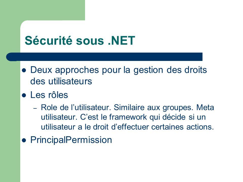 Sécurité sous.NET Deux approches pour la gestion des droits des utilisateurs Les rôles – Role de lutilisateur.