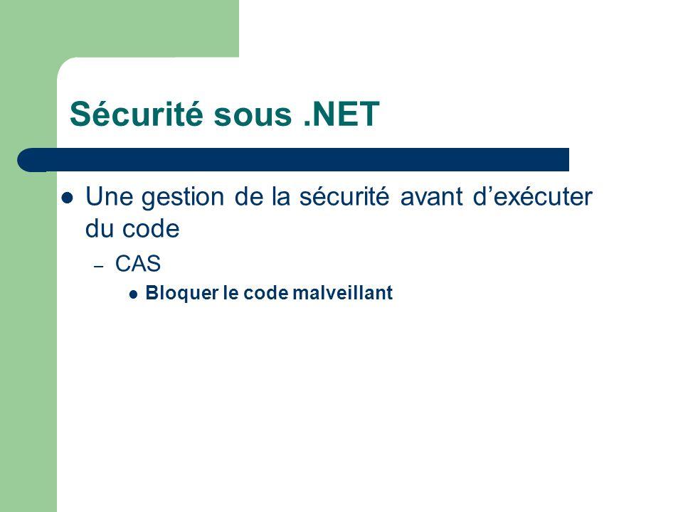 Sécurité sous.NET Une gestion de la sécurité avant dexécuter du code – CAS Bloquer le code malveillant