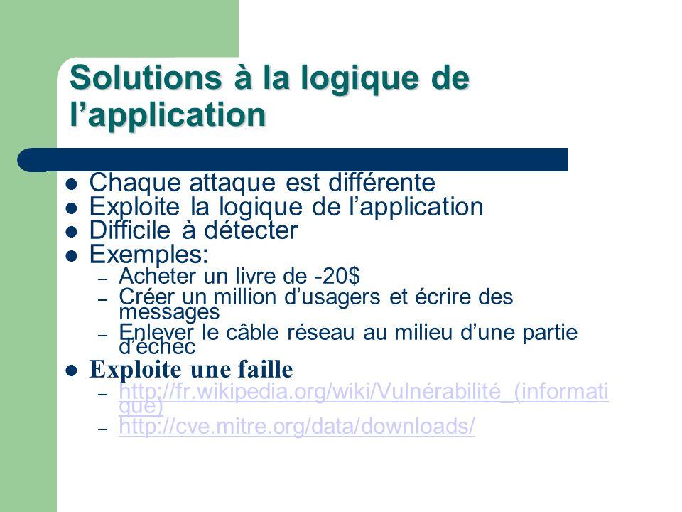 Solutions à la logique de lapplication Chaque attaque est différente Exploite la logique de lapplication Difficile à détecter Exemples: – Acheter un livre de -20$ – Créer un million dusagers et écrire des messages – Enlever le câble réseau au milieu dune partie déchec Exploite une faille – http://fr.wikipedia.org/wiki/Vulnérabilité_(informati que) http://fr.wikipedia.org/wiki/Vulnérabilité_(informati que) – http://cve.mitre.org/data/downloads/ http://cve.mitre.org/data/downloads/