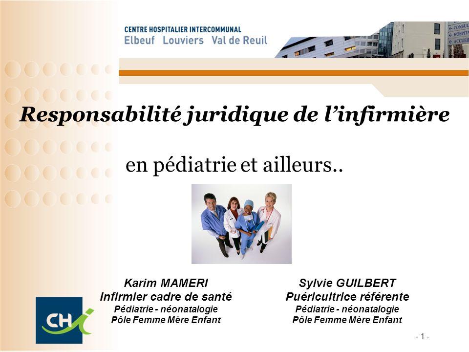 - 1 - Responsabilité juridique de linfirmière en pédiatrie et ailleurs.. Karim MAMERI Infirmier cadre de santé Pédiatrie - néonatalogie Pôle Femme Mèr