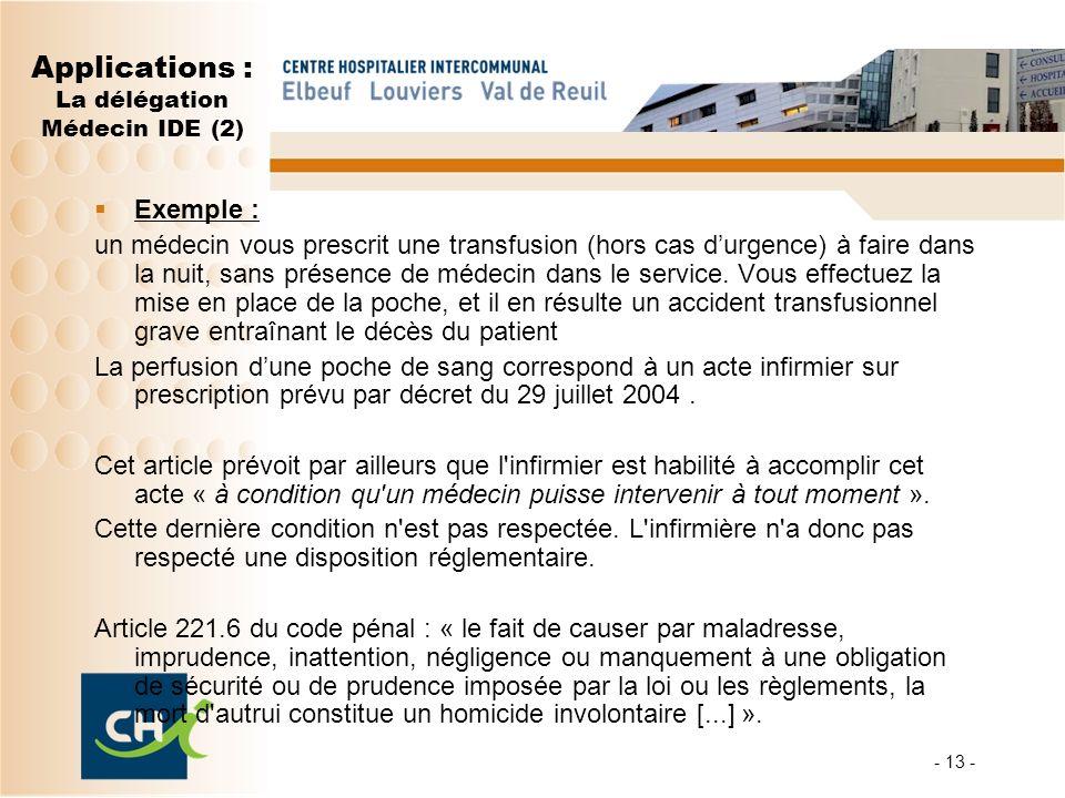Applications : La délégation Médecin IDE (2) Exemple : un médecin vous prescrit une transfusion (hors cas durgence) à faire dans la nuit, sans présence de médecin dans le service.